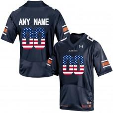 2016 US Flag Fashion Men Under Armour Customized Auburn Tigers College Football Jersey  Navy Blue