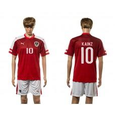 European Cup 2016 Austria home 10 Kainz red soccer jerseys