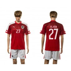 European Cup 2016 Austria home 27  Alaba red soccer jerseys