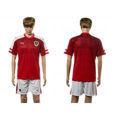 European Cup 2016 Austria home blank red soccer jerseys