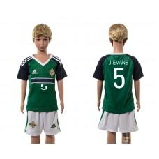 European Cup 2016 Northern Ireland home 5 J.Evans green kids soccer jerseys