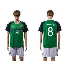 European Cup 2016 Northern Ireland home 8 Davis green soccer jerseys