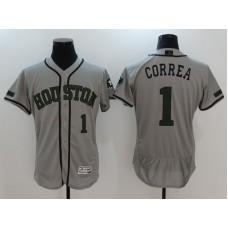 2017 Men MLB Houston Astros 1 Correa Grey EliteCommemorative Edition Jerseys