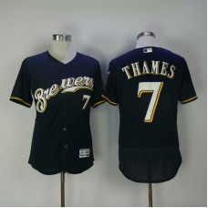 2017 Men MLB Milwaukee Brewers 7 Thames Blue Elite Jerseys