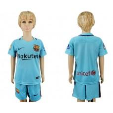 2017-2018 club barcelona aeay kids blank blue soccer jersey