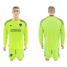 Men 2017-2018 club LA Galaxy fluorescent green goalkeeper long sleeves soccer jersey