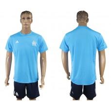 Men 2017-2018 club Marseille away blank blue soccer jersey