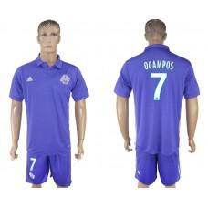 Men 2017-2018 club Marseille second away 7 purple soccer jersey