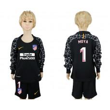 2017-2018 club Atletico Madrid goalkeeper black long sleeve kids 1 soccer jerseys
