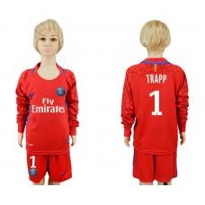 2017-2018 club Paris saint germain red goalkeeper Long sleeve youth  1 soccer jersey