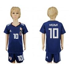 2018 World Cup Japan home kids 10 blue soccer jersey