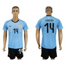Men 2018 World Cup National Uruguay home 14 blue soccer jersey