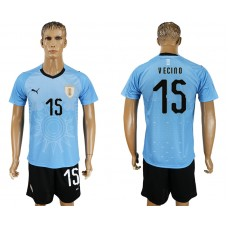 Men 2018 World Cup National Uruguay home 15 blue soccer jersey
