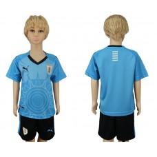 2018 World Cup Uruguay home kids blue soccer jersey