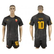 Men 2017-2018 club Rome away 10 black soccer jersey