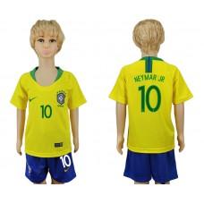 2018 World Cup Brazil home kids 10 yellow soccer jersey