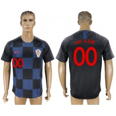 Men 2018 World Cup Croatia away aaa version customized blue soccer jersey