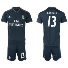 Men 2018-2019 club Real Madrid away 13 blue soccer jerseys