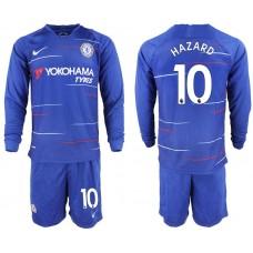 Men 2018-2019 club Chelsea ahome Long sleeve 10 blue soccer jerseys