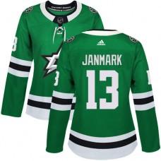 Adidas Dallas Stars 13 Mattias Janmark Green Home Authentic Women Stitched NHL Jersey