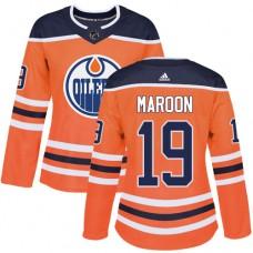 Adidas Edmonton Oilers 19 Patrick Maroon Orange Home Authentic Women Stitched NHL Jersey