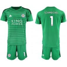 Men 2018-2019 club Leicester City green goalkeeper 1 soccer jersey