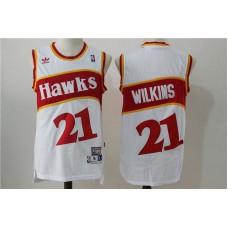 Men Atlanta Hawks 21 Wilkins White Stitched Throwback NBA Jersey