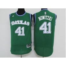 Men Dallas Mavericks 41 Nowitzki Green Adidas NBA Jerseys