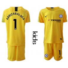 2018_2019 Club Chelsea yellow Youth goalkeeper 1 soccer jerseys