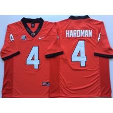 Men Georgia Bulldogs 4 Hardman Red Nike NCAA Jerseys