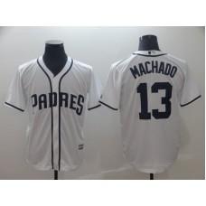 2019 MLB Men San Diego Padres 13 Machado white game Jerseys