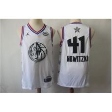 Men Dallas Mavericks 41 Nowitzki White 2019 All Star NBA Jerseys