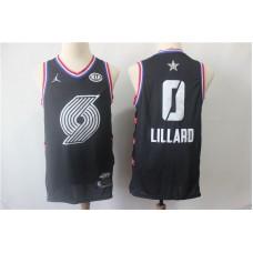 Men Portland Trail Blazers 0 Lillard Black 2019 All Star NBA Jerseys