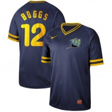 Men Tampa Bay Rays 12 Boggs Blue Nike Cooperstown Collection Legend V-Neck MLB Jersey