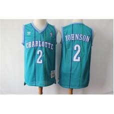 Men Charlotte Hornets 2 Johnson Green Throwback Adidas NBA Jerseys