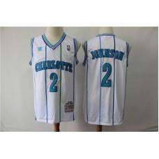 Men Charlotte Hornets 2 Johnson White Throwback Adidas NBA Jerseys