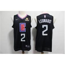 Men Los Angeles Clippers 2 Leonard Black Nike Game NBA Jerseys