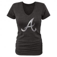 2016 Atlanta Braves Fanatics Apparel Women's Platinum Collection V-Neck Tri-Blend T-Shirt Black