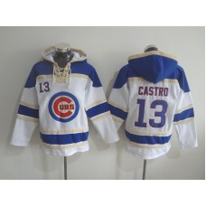 2016 MLB Chicago Cubs 13 Castro white Lace Up Pullover Hooded Sweatshirt
