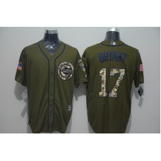 2016 MLB Chicago Cubs 17 Kris Bryant Green Salute to Service Stitched Baseball Jersey