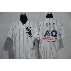2016 MLB Chicago White Sox 49 Sale White USA Flag Fashion Jerseys