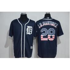 2016 MLB Detroit Tigers 28 J.D.Martinez Blue USA Flag Fashion Jerseys