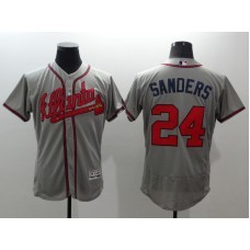 2016 MLB FLEXBASE Atlanta Braves 24 Sanders grey jerseys