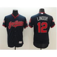2016 MLB FLEXBASE Cleveland Indians 12 Lindor Blue Fashion Jerseys
