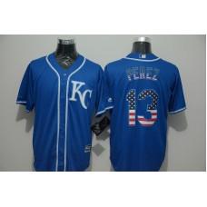 2016 MLB FLEXBASE Kansas City Royals 13 Perez blue jersey