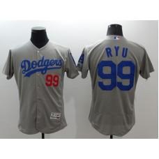 2016 MLB FLEXBASE Los Angeles Dodgers 99 Ryu grey jerseys