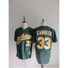 2016 MLB FLEXBASE Oakland Athletics 33 Canseco Green Jerseys
