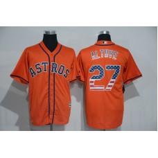 2016 MLB Houston Astros 27 Altuve Orange USA Flag Fashion Jerseys