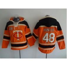 2016 MLB Minnesota Twins 48 Hunter orange Lace Up Pullover Hooded Sweatshirt
