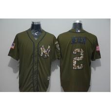 2016 MLB New York Yankees 2 Derek Jeter Green Salute to Service Stitched Baseball Jersey